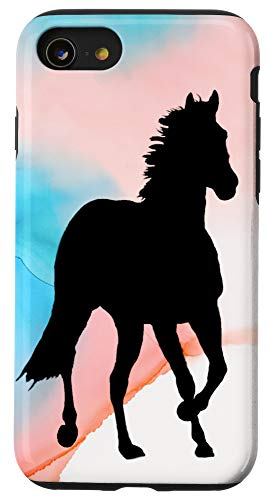 iPhone SE (2020) / 7 / 8 Watercolor Coral Turquoise Horse Silhouette Case