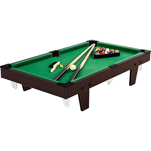 Mini Pool Billardtisch Micro inkl. Zubehör (2 Queues, Kugeln, Dreieck, Kreide, Bürste), 3 Dekore, Maße: 92x52x19cm
