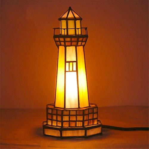 HIJIN Lámparas De Mesa De Estilo Tiffany, 14 * 25 Cm Lámparas De Mesita De Noche Lámpara De Escritorio del Faro De La Casa Pequeña, para El Dormitorio Lámpara De La Cama Lámpara,B
