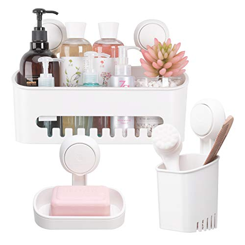TAILI DIY Drill-Free Removable Vacuum Suction Cup Shower Caddy Storage Basket +Toothbrush Holder + Soap Dish, Kitchen Bathroom Bedroom Organizer Set