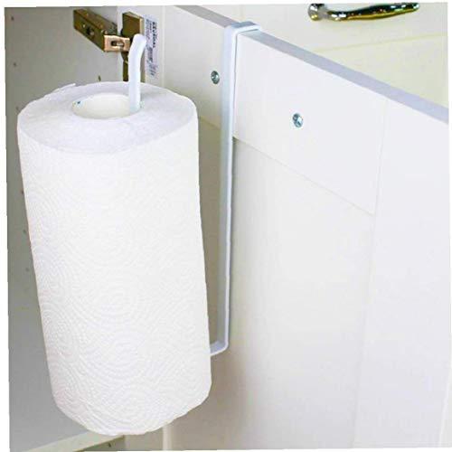 Nicetruc Multifunción Kitchen Roll Holder Debajo del gabinete, Estante higiénico dispensador de Papel Instalación Gratuito de Almacenamiento en Rack Blanca