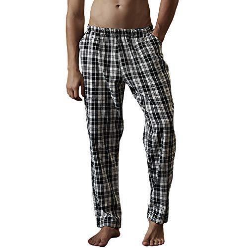 LZJDS Pantalones De Pijama para Hombre Pantalones De Salón Pantalones Invierno Algodón Grueso Pantalones Caseros A Cuadros Otoño E Invierno Pantalones para El Hogar Dormir,41#,L
