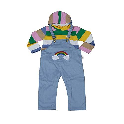 DaiShuGuaiGuai 2 Stück Set - Baby Langarm Kapuzenpullover + Latzhose/Baumwolle (Blau - Regenbogen, S: Empfohlene Körperhöhe: 75-85CM)