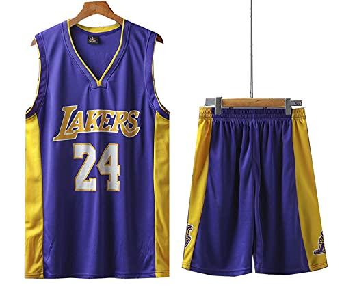 Baloncesto Uniforme Lakers # 24 Kobe, Retro Baloncesto Verano Jersey Fans Jersey Chaleco Sin Mangas Deportes Sportswear,Azul,L