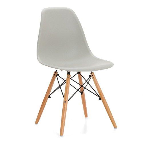 Lo+DeModa Wooden Set di 2 Sedia, Polipropilene/Faggio/Acciaio, Beige, 60x59x4.2 cm