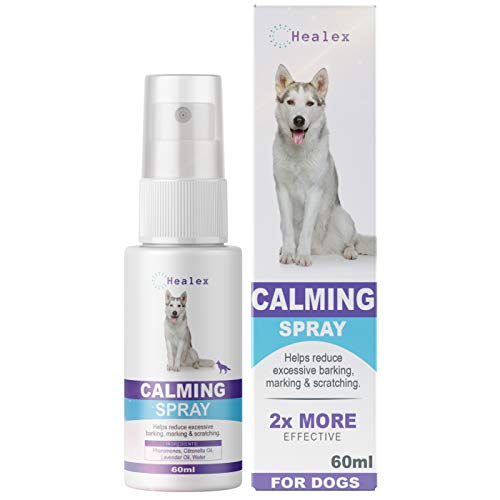 Healex Dog Calming Spray for Dogs | Paw-FECT to Reduce Your Pet's Anxiety or Aggression | Pheromones for Dogs & Dog Anxiety Relief | Dog Calming Products for Puppies | 2-Month Relief, 60 ml
