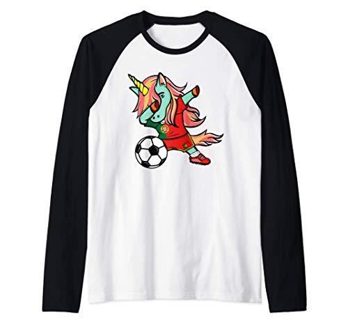 Tamponando Unicorno Portogallo Calcio - Bandiera portoghese Maglia con Maniche Raglan