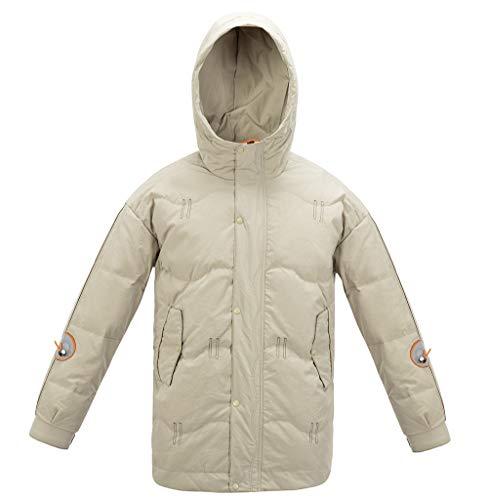 Mens Hooded Down Jackets Winter Mid-Long Windproof Coats Warm Casual Fashion Outerwear Beige