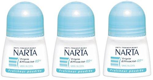 NARTA - Déodorant Femme Bille Fraicheur Poudrée Efficacité 48h - 50 ml - Lot de 3