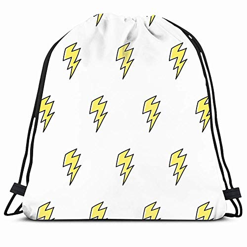 Drawstring Backpack String Bag 14X16 Power Yellow Bolt Lightning Doodle Pattern Arrow Charge Powerful Cute Danger Retro Drawing Electric Thunder Sport Gym Sackpack Hiking Yoga Travel Beach