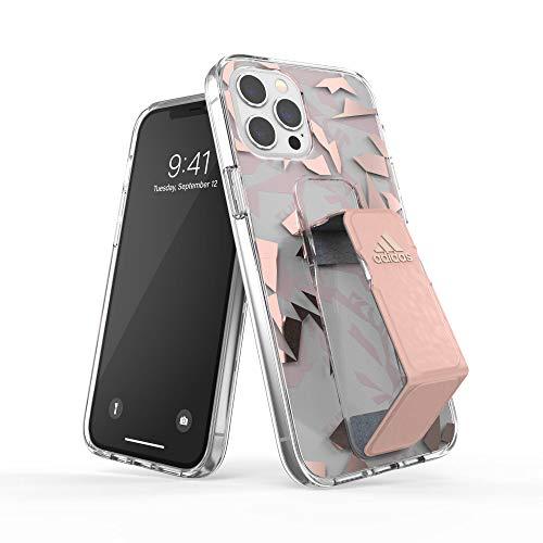 adidas Funda diseñada para iPhone 12 Pro MAX 6.7, Transparente, Correa de Mano a Prueba de caídas, Bordes elevados, Funda Deportiva, Color Rosa