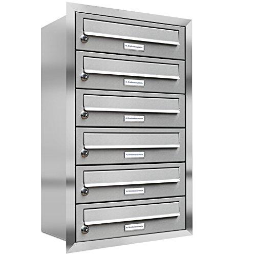 AL Briefkastensysteme, 6er Unterputzbriefkasten, Briefkasten rostfrei, 6 Fach Briefkastenanlage modern, Edelstahl Postkasten