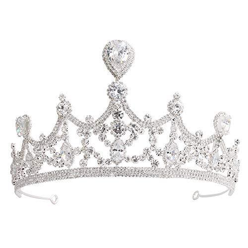 LIUXING-Home Crown Rhinestone Crystal Decor Headband Veil Tiara (white) Wedding Prom Bridal Crown Ladies headwear (Color : White)