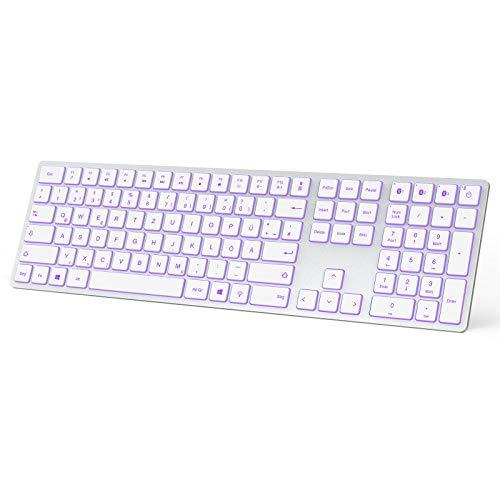 Jelly Comb Bluetooth Tastatur beleuchtet, Multi-Gerät Ultradünne Kabellose Tastatur mit DREI Bluetooth, wiederaufladbare Full-Size QWERTZ Funktastatur für Windows, Laptop, PC, Tablet, Handy(Silber)