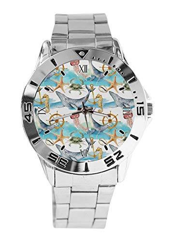 Reloj de pulsera analógico de cuarzo analógico con diseño de estrella de mar y ancla de tiburón para hombre