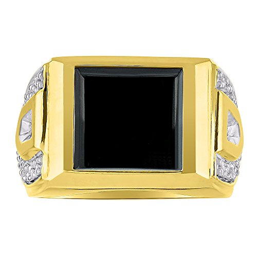 Anillo de plata de ley o chapado en oro amarillo con diamante de ónix para hombre
