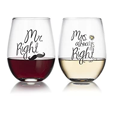 Elegant Home Personalized Gift Set of Two 19 Oz. Mr Right & Mrs Always Right Stemless Wine Glass - unique Novelty - Gag Gift.
