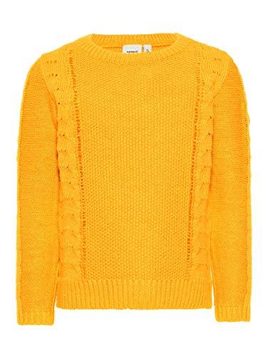 Name It Nmfnandie Ls Knit Camp Pull pour bébé Fille - Orange - 5 Ans