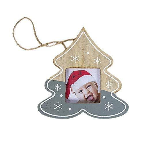 WERNG Decoraciones navideñas DIY Marco de Fotos de Madera Colgante Decoraciones navideñas Ree Adornos Decoraciones navideñas para el hogar Navidad Azul Profundo