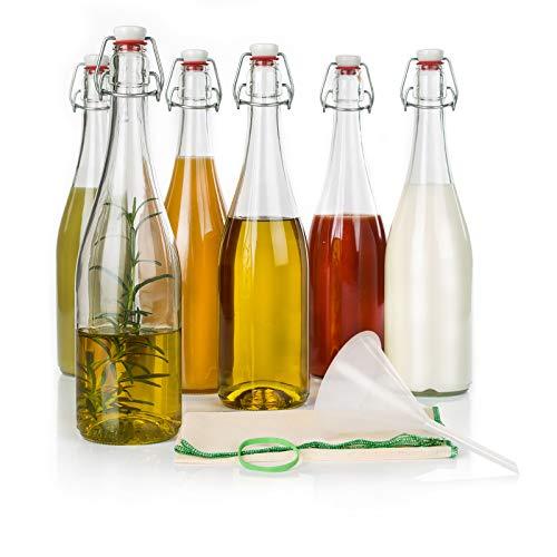 myFERMENTS Bottiglie di Vetro con Tappo - Kit di 6 Bottiglie di Vetro Spesso da 750ml con Tappo Ermetico in Porcellana e Guarnizione, Imbuto 10cm, Panno di Mussola 50x50 - Birra, Liquori, Succhi, Olio
