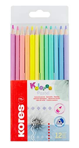 Kores Kolores Pastellfarbstifte, 12 Pastellfarben, trendige & hübsche Pastelltöne für Weiß, Dunkles und Bastelpapier, 12 Pastellstifte in einer Box für Kinder, Künstler 93311, 12 Stück