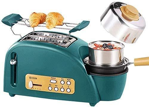 CAIJINJIN Máquina para hornear 3 en 1 Desayuno Center Station, One Touch Control, 2 Slice Toaster - con extraíble for cocinar huevos, pan-frito lxhff del plato y la bandeja for migas desmontable