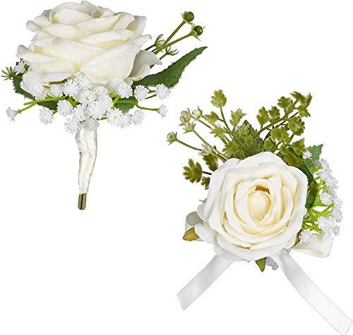 YQing 2 Piezas Muñeca Ramillete Pulsera Muñeca Ramillete Flor (2pc Large White Rose Set)