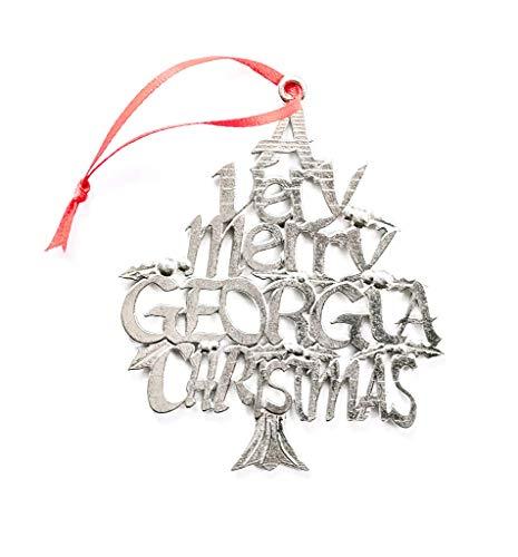 American Handmade Georgia GA Christmas Ornament Atlanta Holiday Gift Pewter
