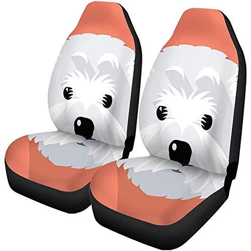 Enoqunt Autostoelhoezen, Westie Hond West Highland White Terrier gezicht, vlak grappig, universeel, autostoelbeschermer