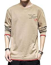 ODFMCE tシャツ メンズ 長袖 無地 綿 プリント カットソー おしゃれ 大きいサイズ