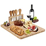 PENGKE Bamboo Cheese Board Set with 4 Stainless Steel Cheese Knives,Charcuterie Platter,Serving Tray for Crackers,Brie and Meat,Perfect Choice for Gift.
