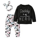 Derouetkia Newborn Baby Girls 3Pcs Outfit Set Letters Daddy Little...
