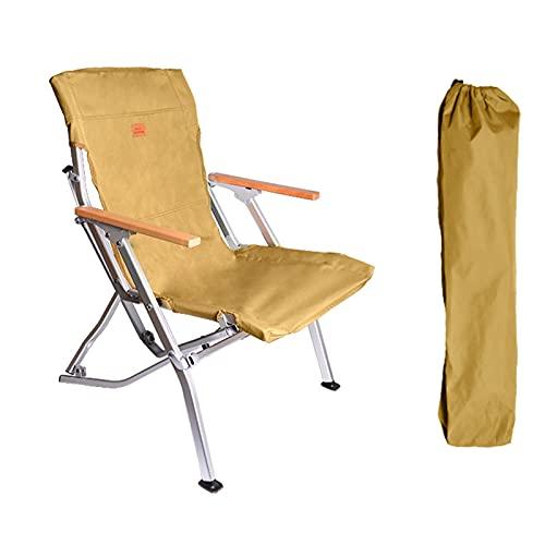 GJSC Silla de Camping Portátil, Ultraligera Silla de Acampada Plegable de Aleación de Aluminio Silla de Playa con Bolsa de Transporte, Máxima 120kg Brown