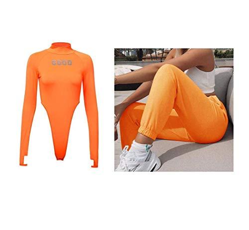 JUSTTIME Dames Slim Fit Fluorescerend Alfabet Reflecterend T-shirt met lange mouwen Pullover Coltrui Bodysuit M ORANJE