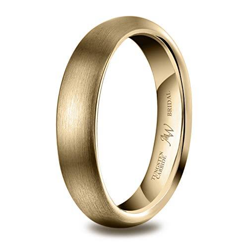 AW BRIDAL Alianza Unisex Cepillada para Mujer/Hombre, Oro de 4 mm, Ajuste Cómodo para Matrimonio, Compromiso, Asociación, Tamaño18.25