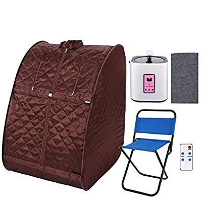 KGK Portable Steam Sauna Spa, 2L Personal Therapeutic Sauna for Weight Loss Detox Relaxation, Single-Use Home Sauna Spa Tent with Remote Control, Foldable Chair, Timer