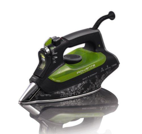Rowenta Dw6080 Eco-Intelligence 1700 vatios de Ahorro de energía Plancha de Vapor de Acero Inoxidable Suela con Auto-Off, 400-Hole, Negro