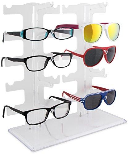 Grinscard Brillenständer für 10 Brillen - Weiß 32 x 30 x 12 cm - Brillenhalter zur Aufbewahrung und Präsentation