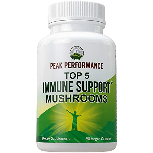 Top 5 (USA Grown) Immune System Mushroom Capsules with Reishi, Chaga, Maitake, Shiitake, Turkey Tail Mushrooms. Naturally Harvested Vegan Mushroom Complex Supplement 90 Pills Peak Performance