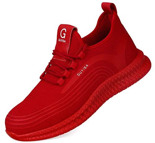 [tqgold] 安全靴 作業靴 スニーカー 軽量 鋼先芯 通気性 耐摩耗 耐滑ソール メンズ レディース ハイカット ブーツ 黒 作業 靴 仕事 工事現場 疲れない おしゃれ あんぜん靴 (レッド 26.0cm)