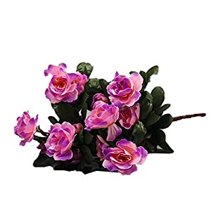 Gokeop 13-Inch Rhododendron Artificial Flower, 7 Heads DIY Fake Flowers for Home Decor Indoor and Wedding, 33cm Retro Style Natural Simulated Flowers for Festivals and Cemetery, Purple