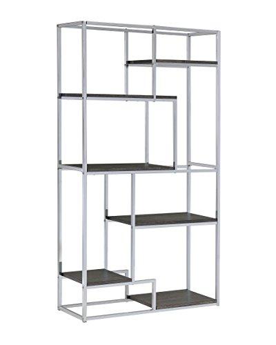 Furniture of America Corley Contemporary 6 Shelf Bookcase, Chrome