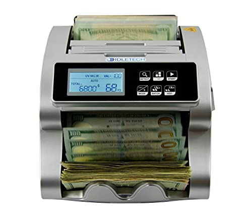IDLETECH BC-1100 USD Money counter machine with counterfeit detection, Automatic money counting. Bill counter. UV/MG/IR/DBL/HALF/CHN/DD detections. Single Value Mode, Add, Batch modes. Business grade.