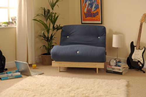 Comfy Living 2ft6 Small Single Wooden Futon Set with NAVY Mattress