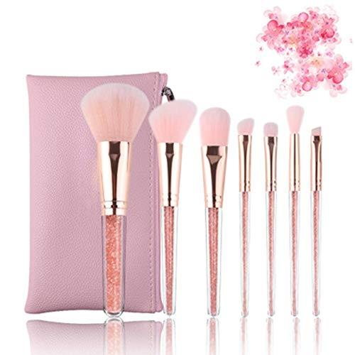 Ensemble de pinceaux de maquillage de beauté Cristal pinceau de maquillage Drill en plastique fait de l'homme poignée fibre rose Sac pinceaux de maquillage haut de gamme synthétique Pinceau fond de te