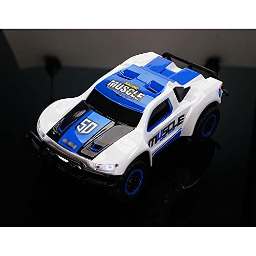 QHYZRV 1:43 Camión corto Coche de control semiproporcional Faros delanteros LED Control remoto de alta velocidad Dirección del automóvil Ajuste fino Hobby Toy Car 2.4GHz Coche de carreras recargable R
