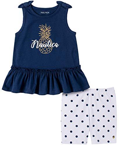 Nautica Sets (KHQ) - Juego de Pantalones Cortos para niña, Azul Marino/Blanco, 5