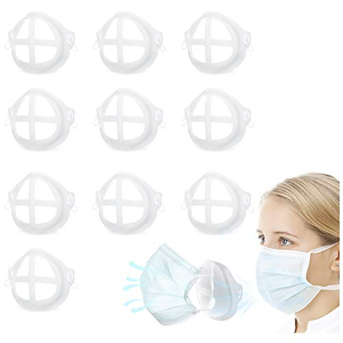 10PCS 3D Mask Bracket Internal Support Frame, Cool Masks for Mouth and Nose Protection Lipstick Reusable Face Mask Holder Clip + 20 Safety Pins