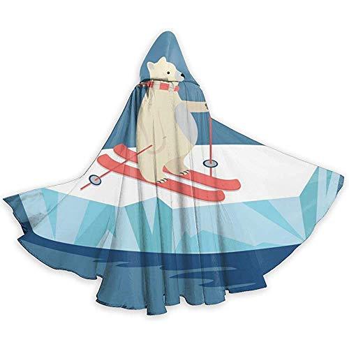 Nood-toepasbare capuchon, lange cape, losse omhanging, volwassenen pet met capuchon, cape-kostuum, omhanggordijn met hoed, cartoon ijsbeer skiën vampiergordijn, feest/kerstkostuum