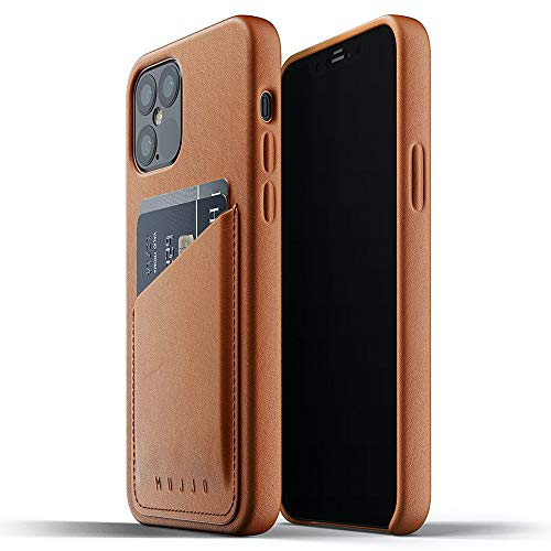 Mujjo Full Leather Wallet Case for iPhone 12 Pro/iPhone 12 | Premium Genuine Leather Natural Aging Effect | Leather Pocket for 2-3 Cards (Tan)
